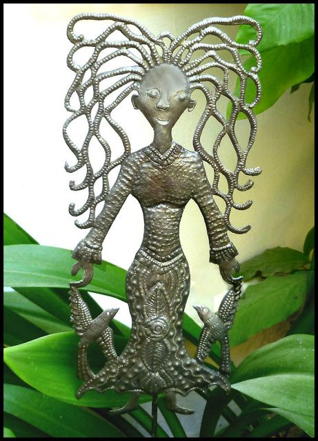 Garden Decor  Metal Plant Marker, Plant Stick, Yard Art  Garden Markers  7  x 15  is part of garden Decoration Website - Garden marker  Garden décor, Plant stick, Yard art, Metal plant stake  Haitian steel drum metal art, Outdoor metal art  Handcrafted metal lady with birds will be happy to keep a watch over your garden  Hand cut from recycled steel drum at our workshop in Haiti   Garden plant marker measures 7  x 15   A 30  metal pole is included to mount the plant stick in your garden