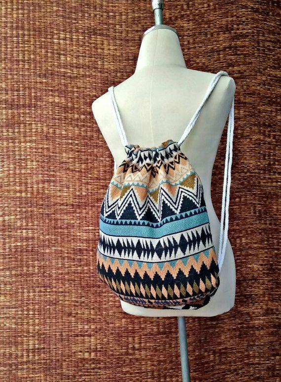 Backpack Tribal Aztec Festival Boho Drawstring bag Ethnic pattern ... e60cb5081f