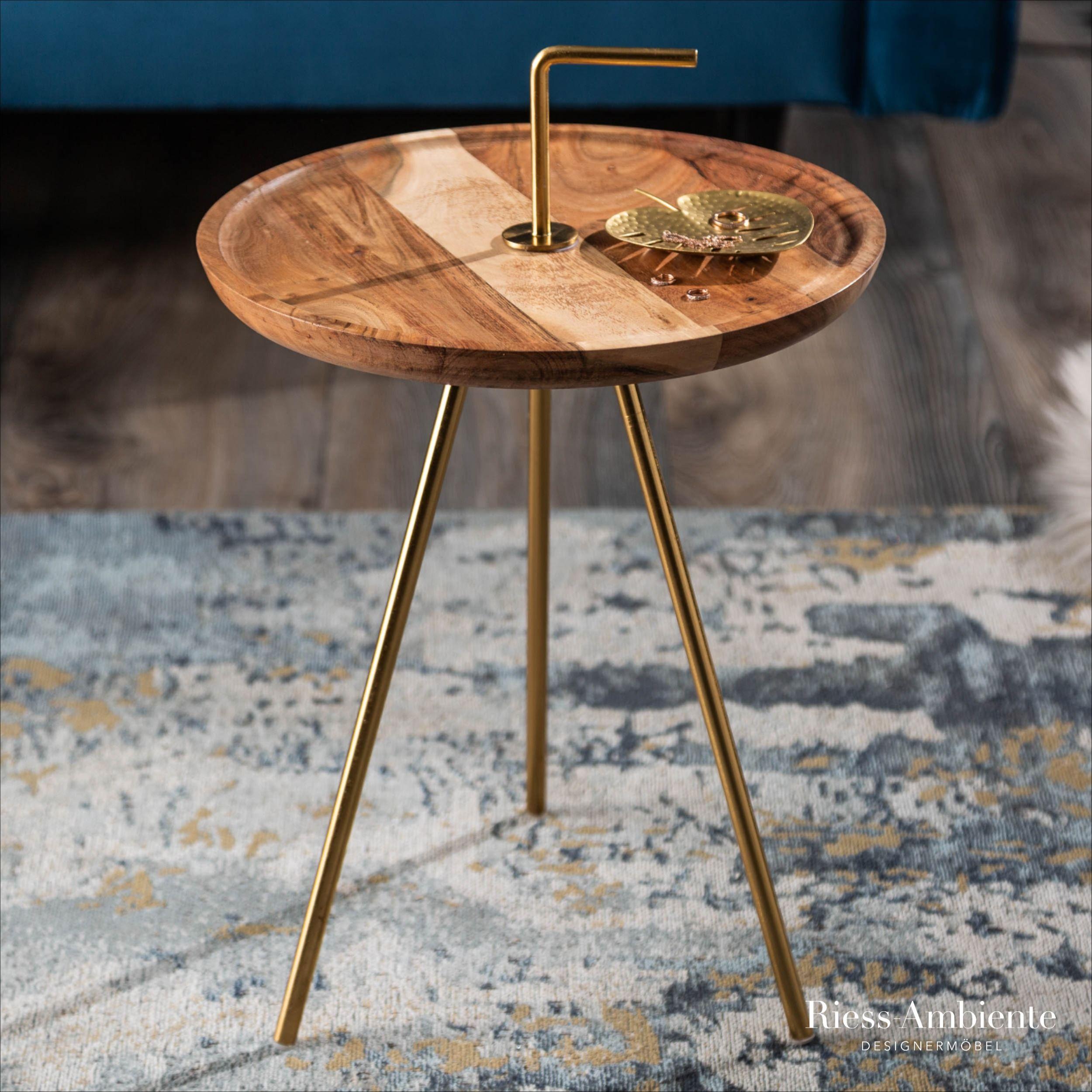 Beistelltisch Akazie Gold Mit Griff Riess Ambiente De Beistelltisch Tischplatte Rund Tisch