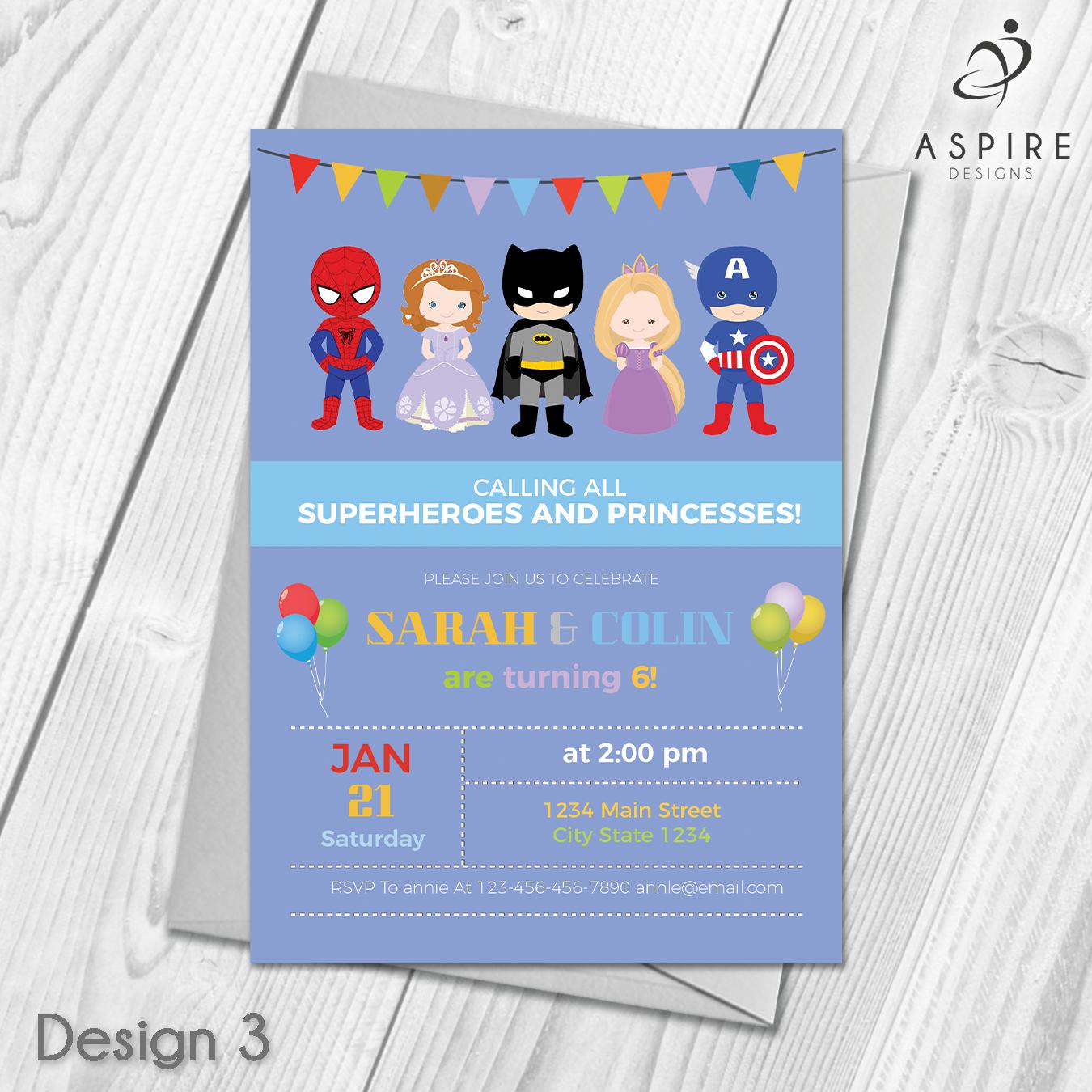 Personalised Childrens Princess & Superhero Birthday Party ...
