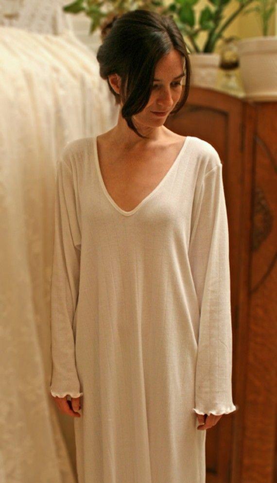 ELEGANT Cotton Nightgown Long Sleeve Long Gown Supima Rib by simplepjs b6d552934