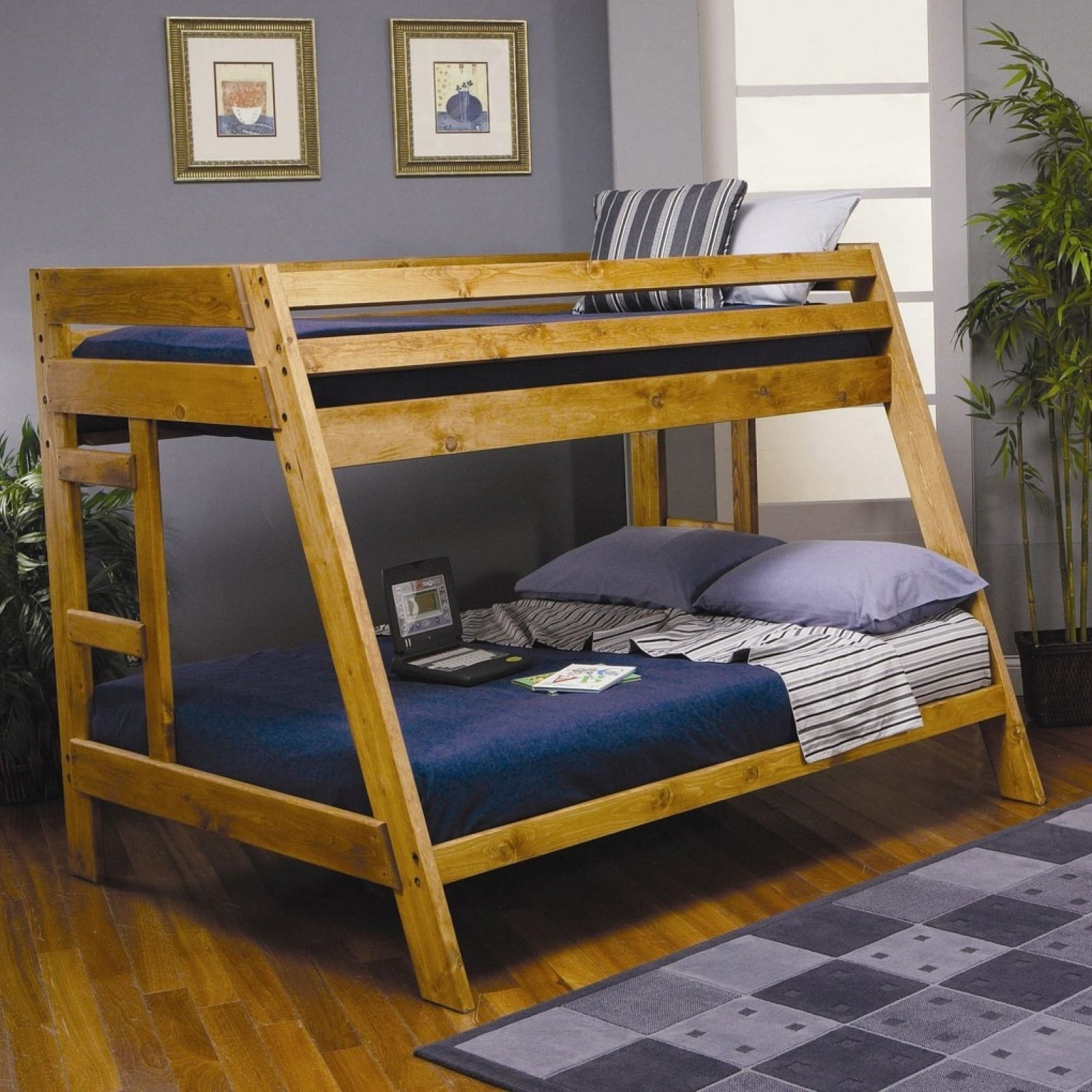 Queen loft bed with stairs  free diy plans twin over queen bunk beds  Wood Bunk Beds Twin Over