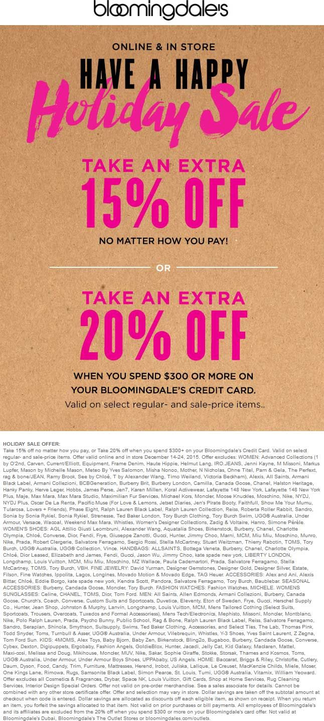 15 Off At Bloomingdales Ditto Online Coupon Apps Have A Happy Holiday App