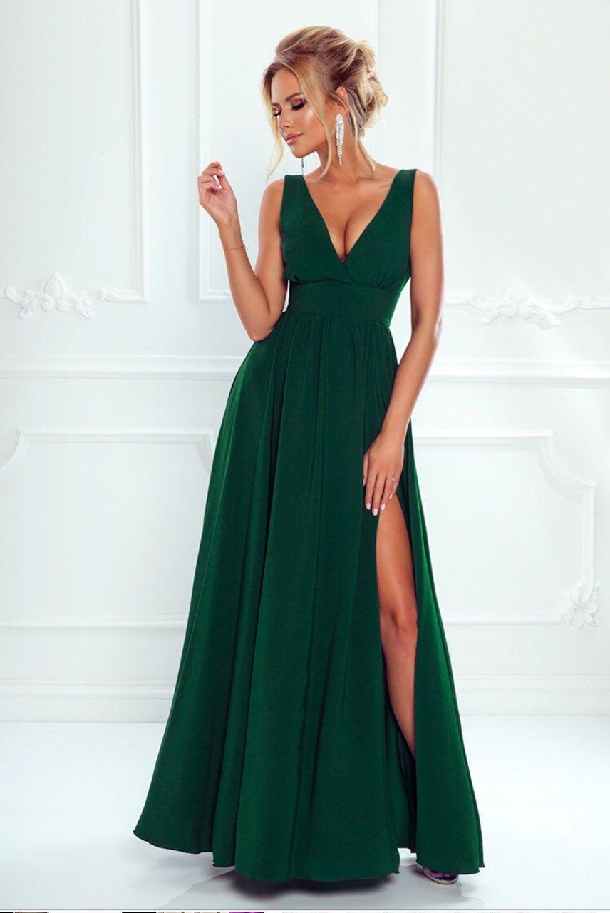 3e5462e9c5 Długa Suknia z Dekoltem Zielona Jenny
