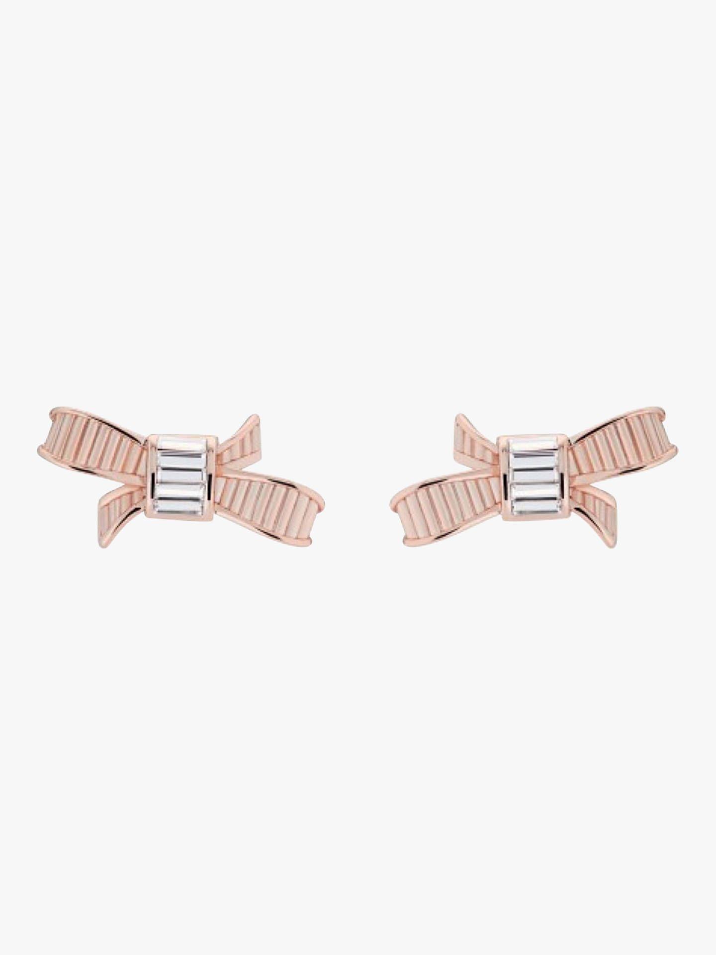 f21839371 BuyTed Baker Bow Swarovski Crystal Stud Earrings, Rose Gold Online at  johnlewis.com