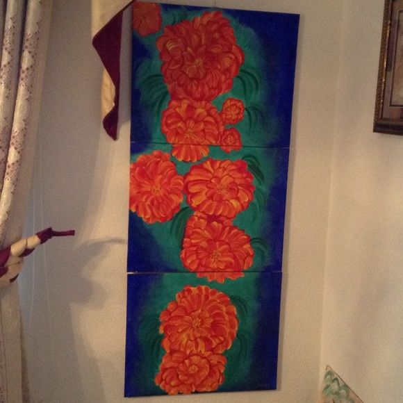 Stunning acrylics painting in 3 pieces Flowers in bloom , Perinials . Other