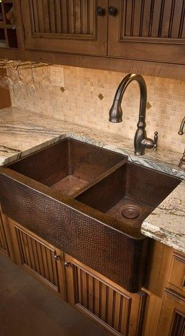 Copper Farmhouse Sink Love The Double Compartment And Those Style Under Cabinets