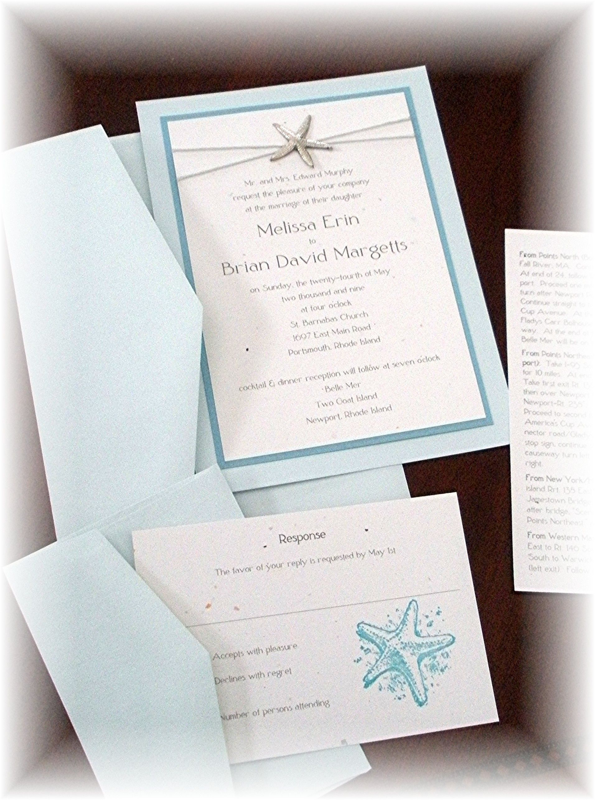 Beach Wedding Invitations With Starfish Wedding Pinterest