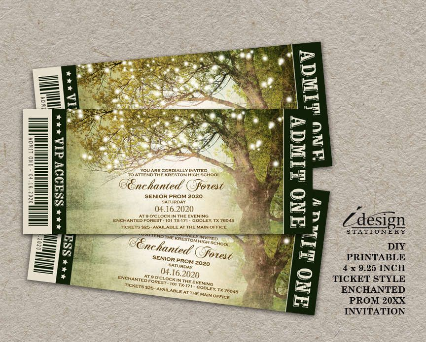 Enchanted Forest Themed Wedding Invitations: Enchanted Forest Prom Invitation With String Lights