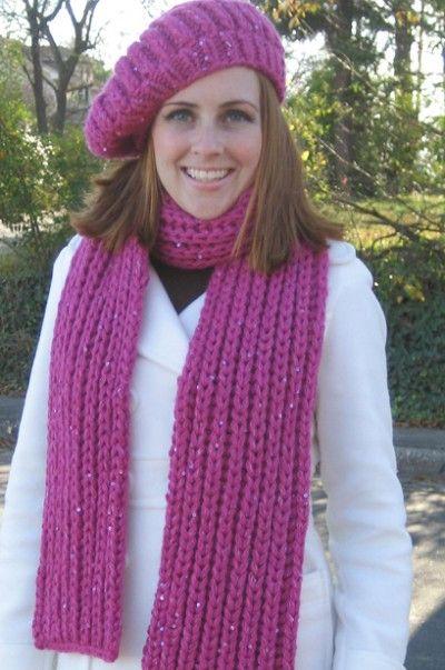 Free Universal Yarn Pattern Fishermans Rib Scarf And Hat Knit