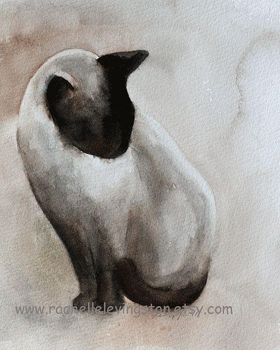 WHITE CAT Art Print Painting LARGE 11 x 14 Watercolor by Artist DJR w//COA