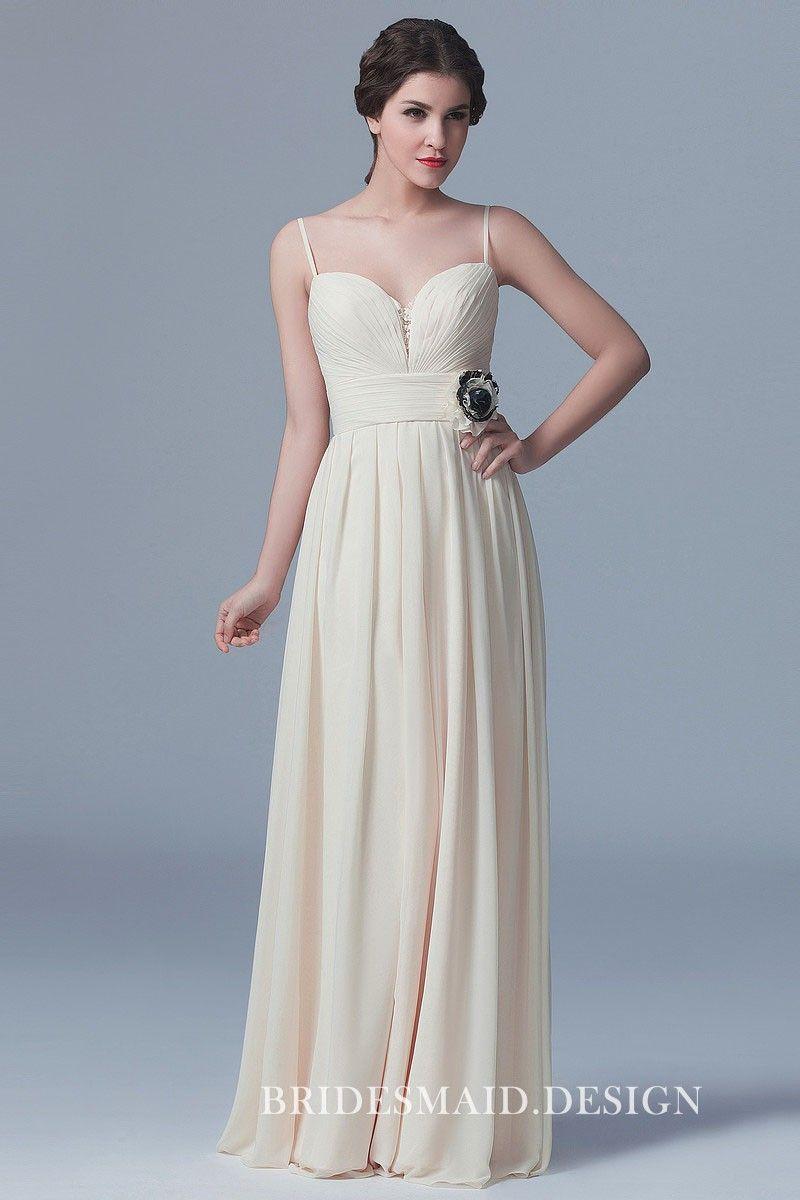cef8e1d4220 Elegant Cream Chiffon Ruched Long Bridesmaid Dress with Spaghetti Straps