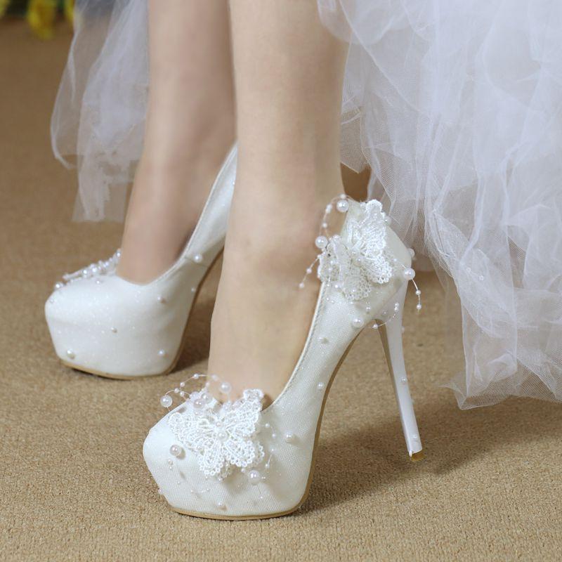 White Platform Beads Wedding Shoes