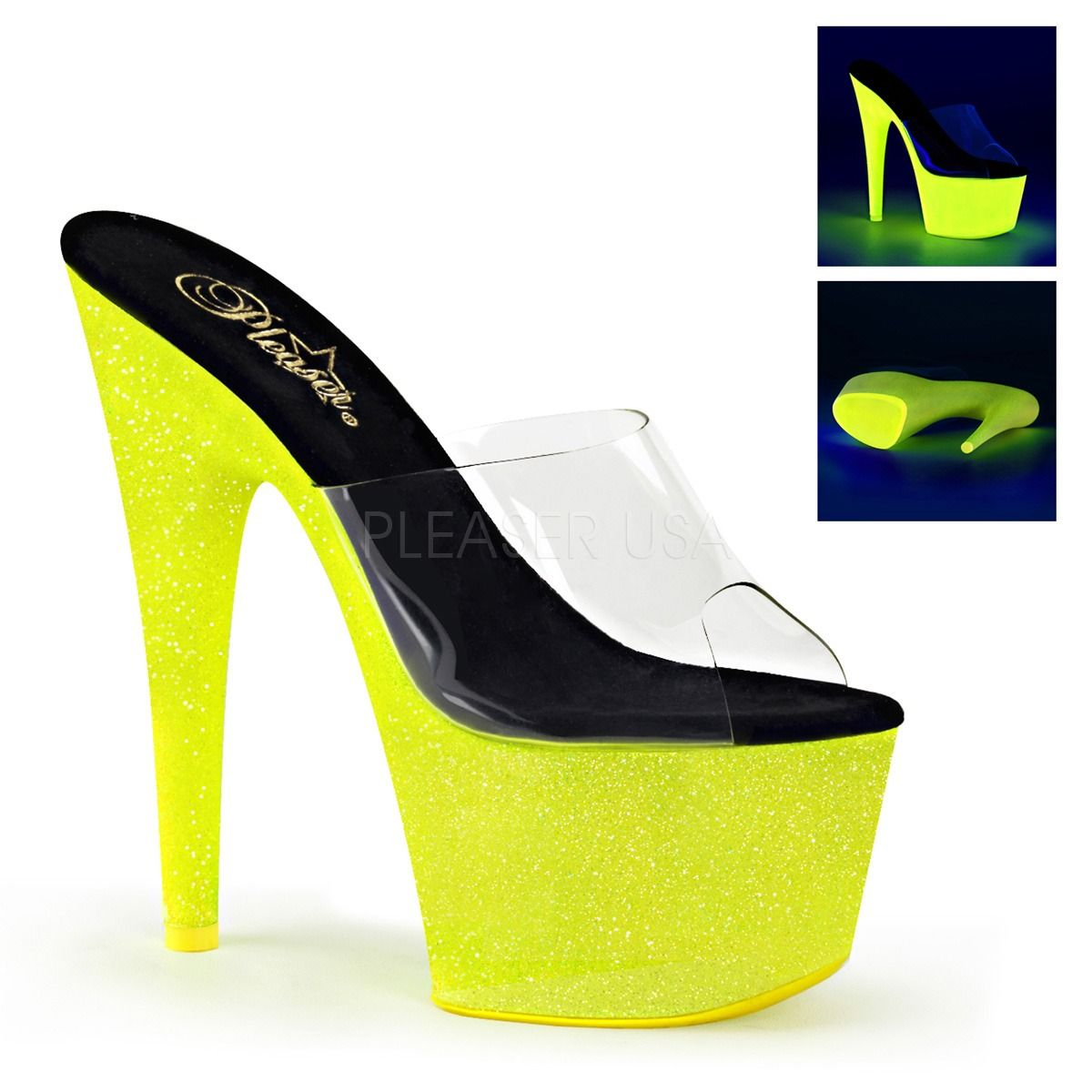 Fabulicious By Pleaser Poise-501UV Reactive Neon Purple Slide Shoe Mini Platform