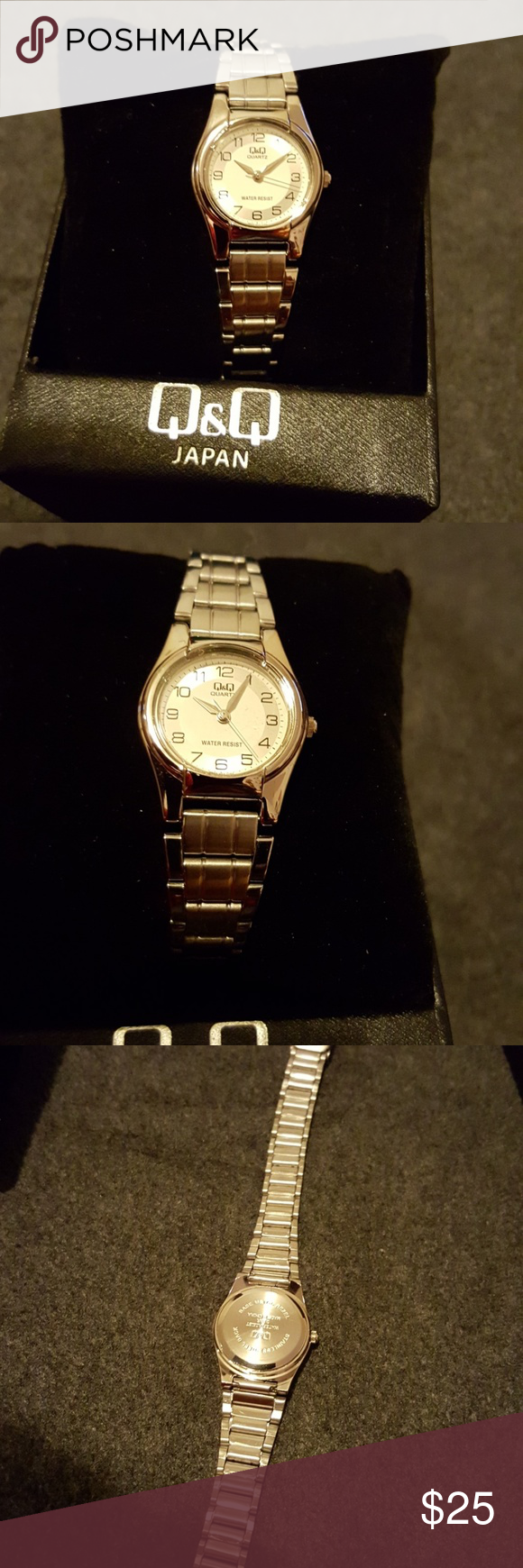 Q Watch Silver Band 3 Bars Water Resistant Stainless Steel Back New With Box Never Worn