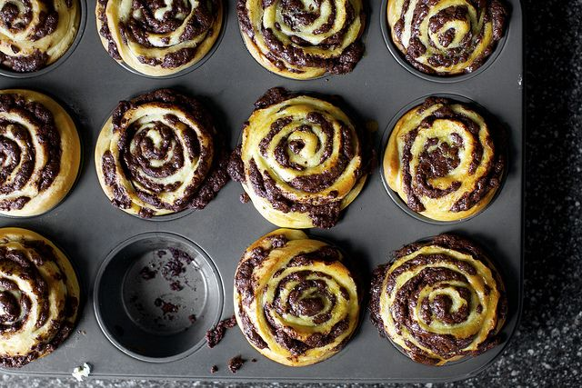 Chocolate Swirl Buns (aka mini babkas) by smittenkitchen: Streamlined, simplified and sped up from the traditional version. Epic! #smittenkitchen #Chocolate_Babka #Chocolate_Swirl_Buns