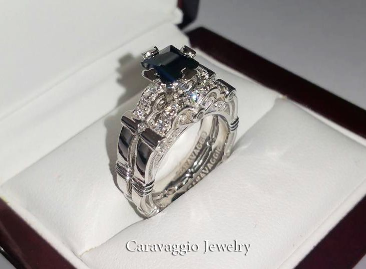 82239d7daef Art Masters Caravaggio 14K White Gold 1.25 Ct Princess Black and White  Diamond Engagement Ring Wedding Band Set R623PS-14KWGDBD by Caravaggio  Jewelry