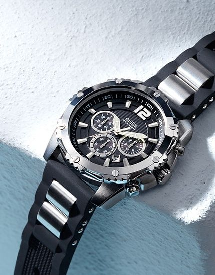 Black And Silver Tone Bold Sport Watch At Guess Sport Watches Mens Sport Watches Guess Watch Men