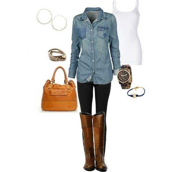 denim shirt, brown boots, leggings.