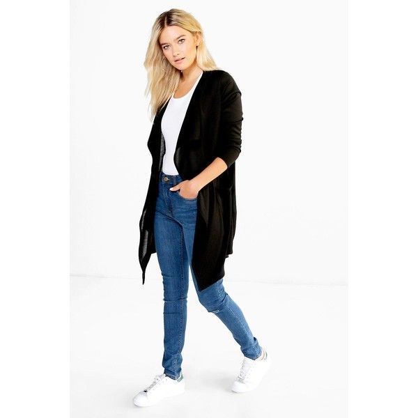 Boohoo Evie Midi Length Waterfall Cardigan ($26) ❤ liked on ...