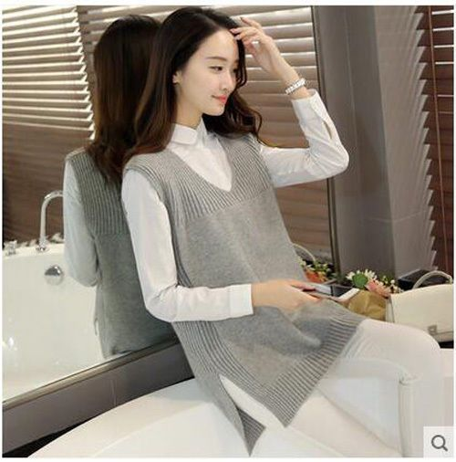 new spring autumn Korean fashion loose Open fork Ms knitting sweater vest coat