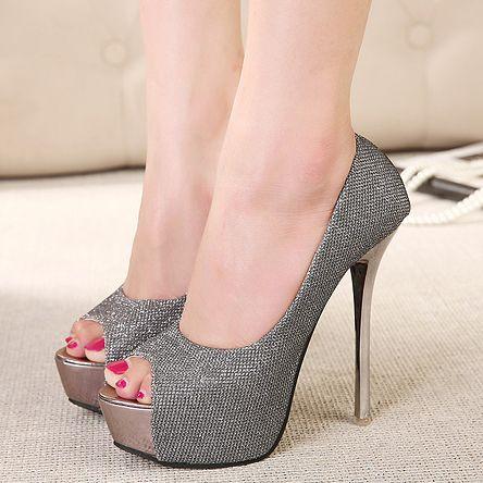 New summer silver wedding shoes open toe high heels women pumps ...