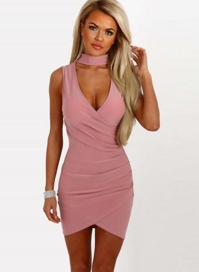 Solid Halter V Neck Sleeveless Irregular Bodycon Dress  8139f3a57