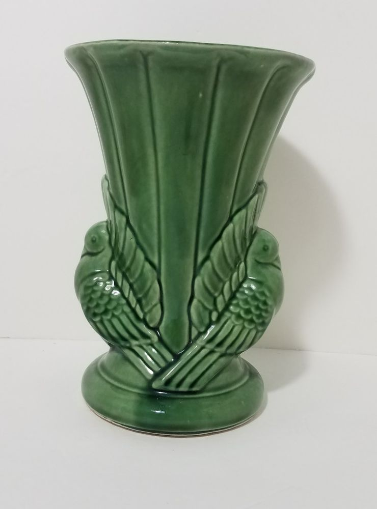 Shawnee Pottery Green Double Dove Birds Vase Art Deco Mid Century 1940s Usa 829 Shawnee Artdeco Shawnee Pottery Art Deco Pottery