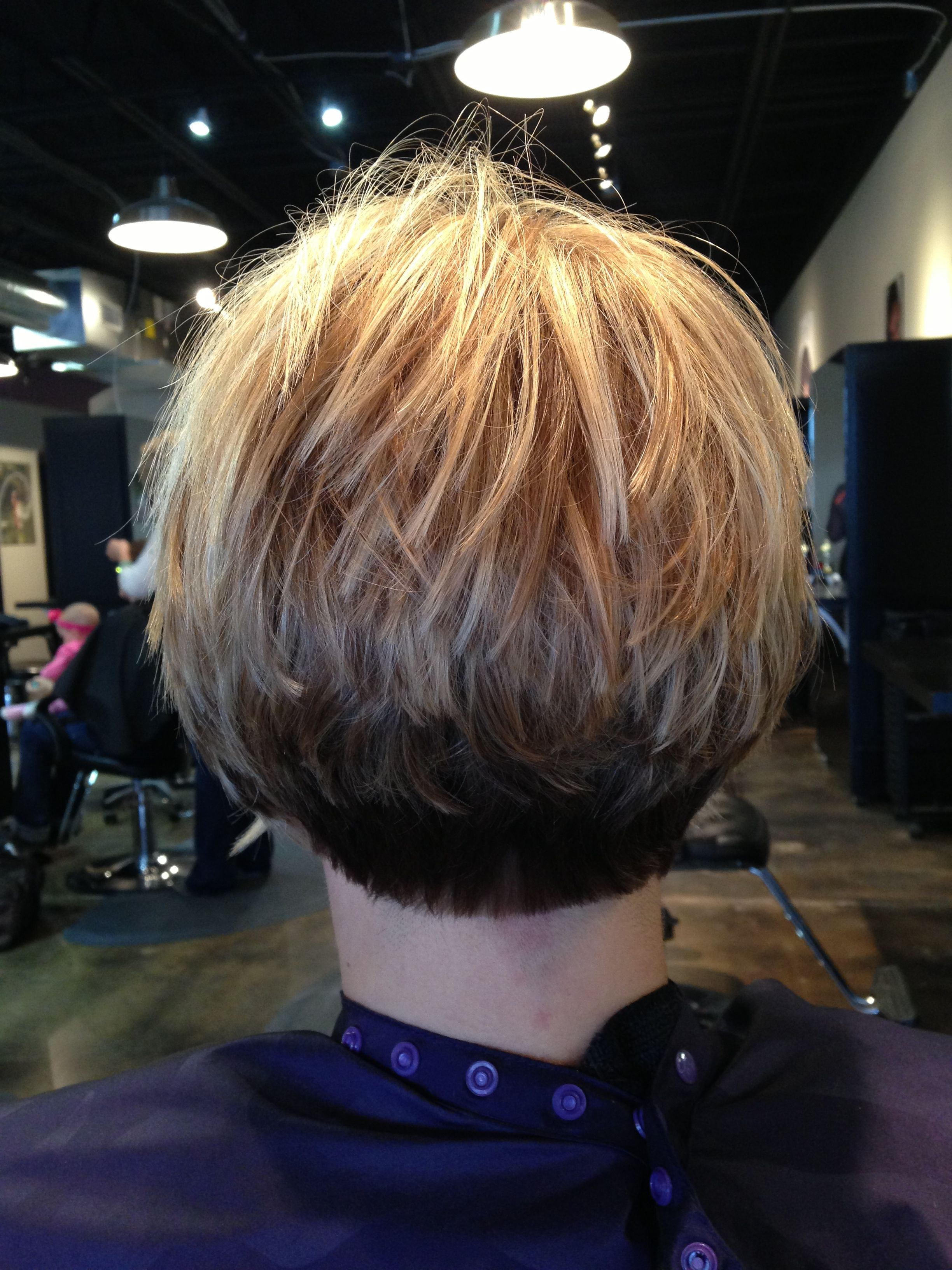 Inverted stacked bob..three colors #Keune | Short stacked ...
