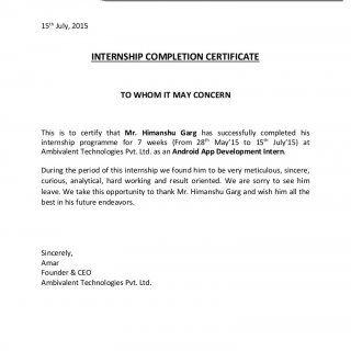 Himanshu Certi Certificate Format College Internship Internship