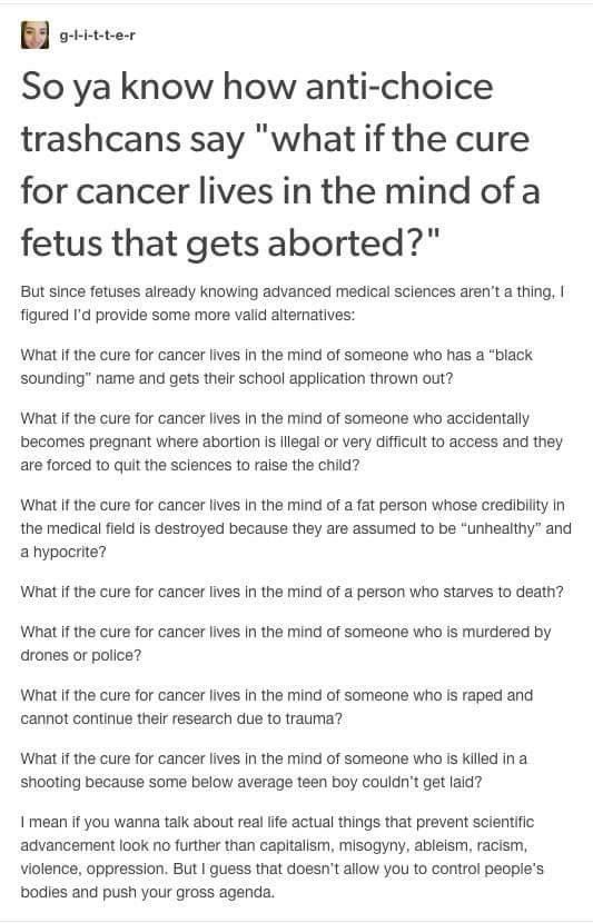 What If The Cure For Cancer    Feminism Bitch
