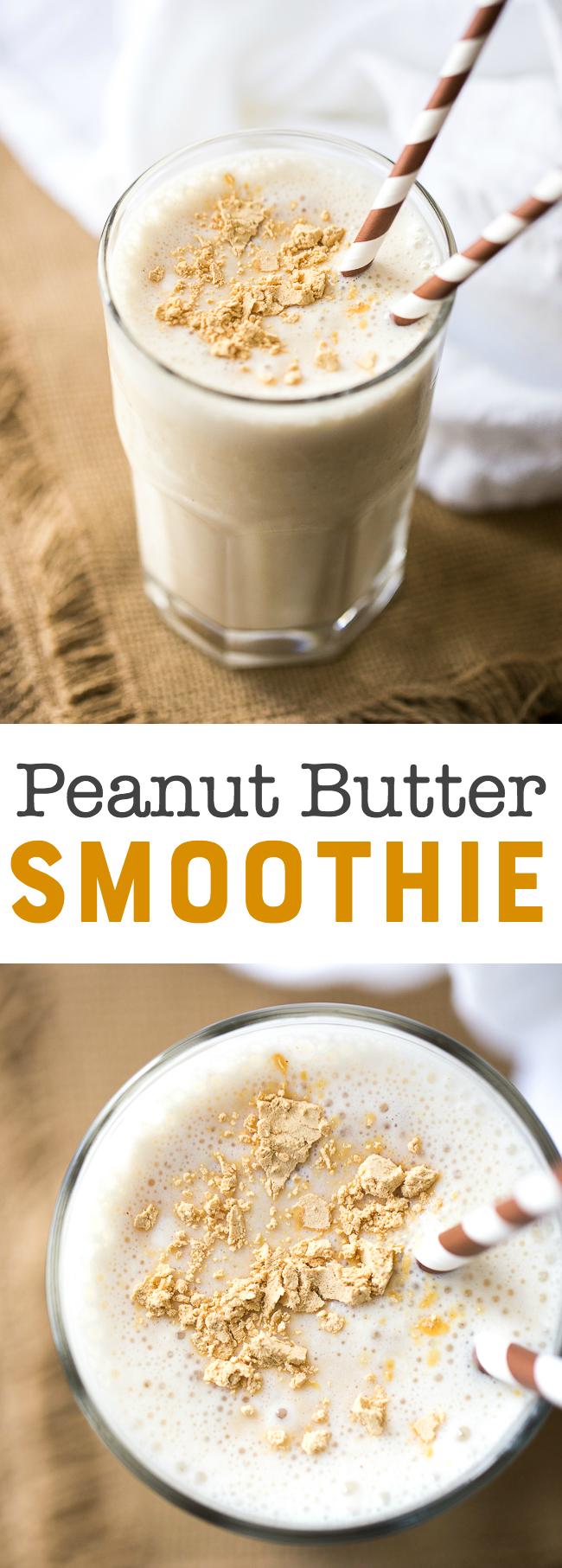 Peanut Butter Smoothie Recipe - PB2 Banana Smoothie #vanillayogurt