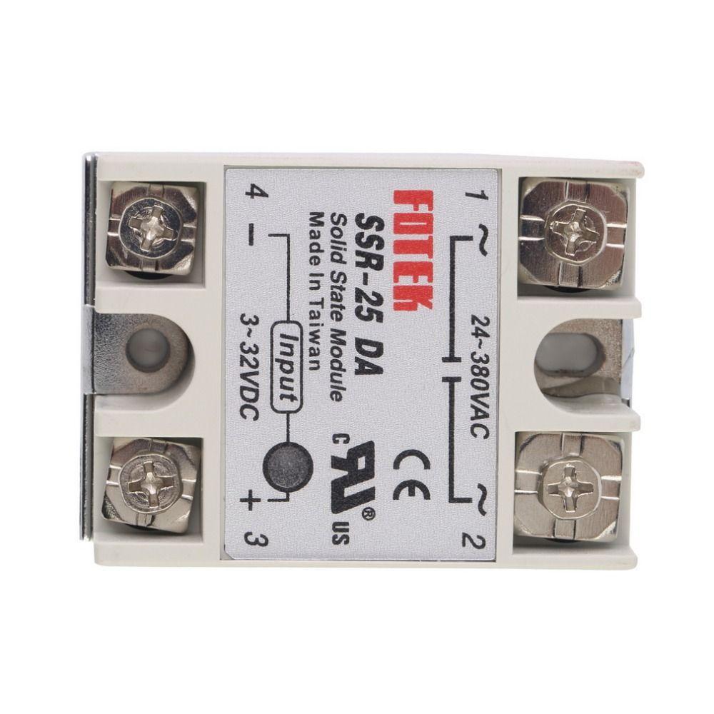 Più nuovo 1 pz Modulo Relè A Stato Solido SSR-25DA 25A/250 V 3-32 V DC Ingresso Uscita 24-380VAC Vendita calda!!