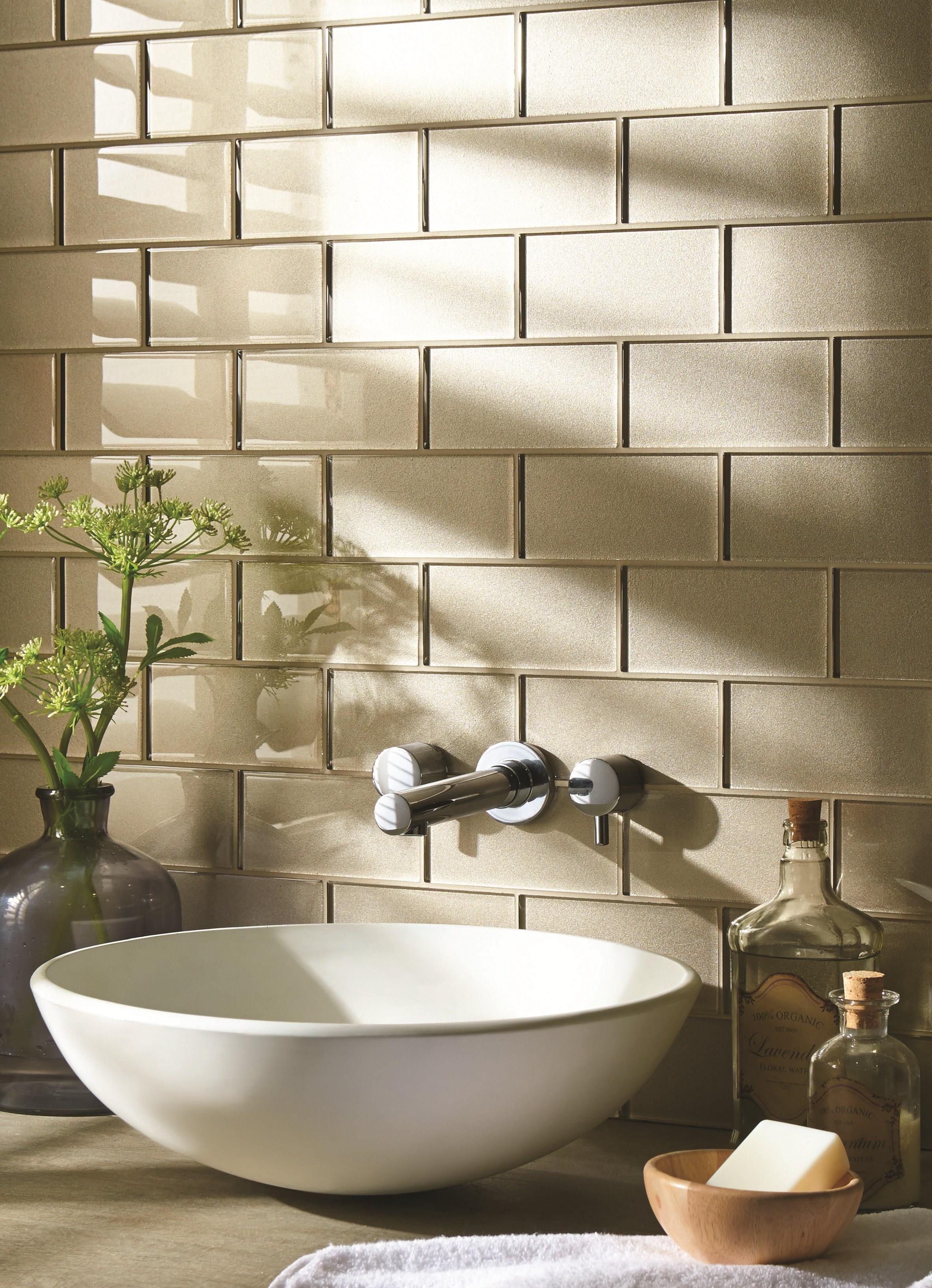 Glass bricks in bathroom - Family Bathroom Starcia Metallic Glass Bricks