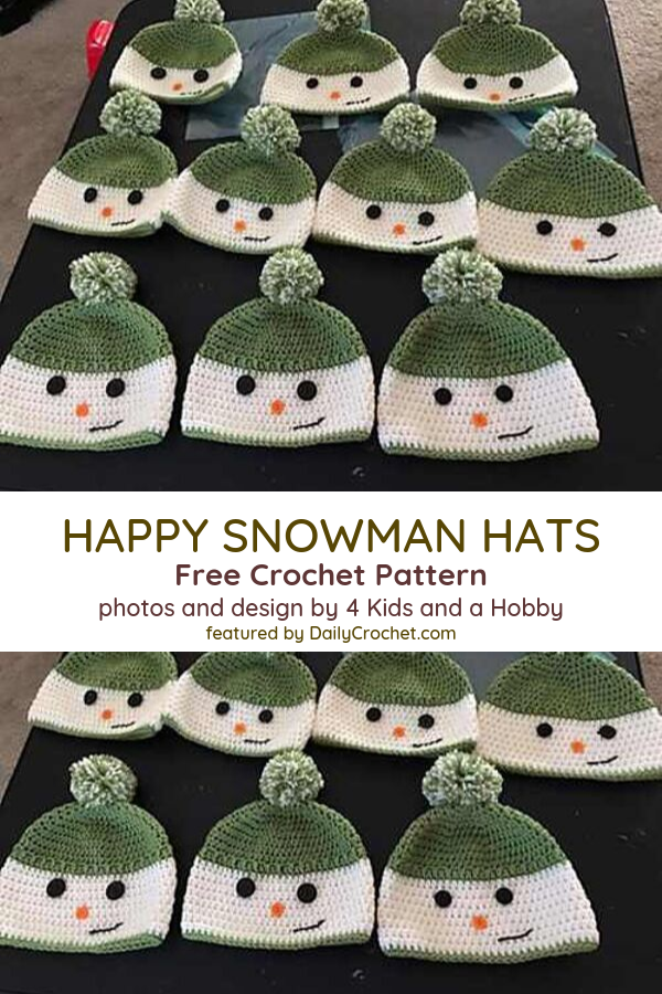 Free Pattern Unbelievably Cute Happy Snowman Hat You Can Crochet For A Child He In 2020 Crochet Baby Hat Patterns Crochet Hats Free Pattern Crochet Character Hats