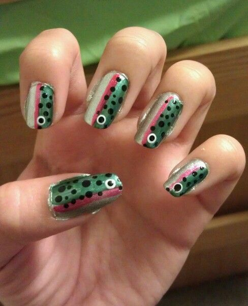 Fish (trout) Nail art - Fish (trout) Nail Art Outdoorsy Nails Pinterest Nail Art