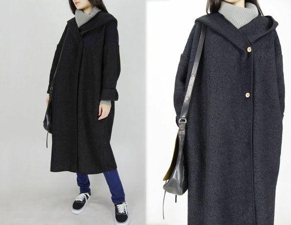 4f20d0057a8 433-Women's Double Face Bouclé Sorcerer Hooded Coat Wool by EDOA ...