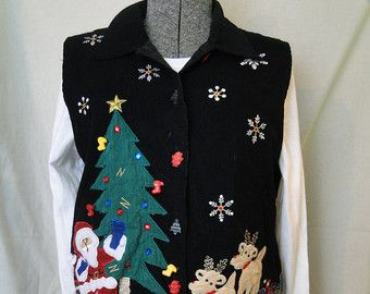 Ugly Christmas Sweater Vest Cheap Tacky, Gaudy, Novelty, Holiday, Party, Xmas by ABetterSweaterShop on Etsy K24