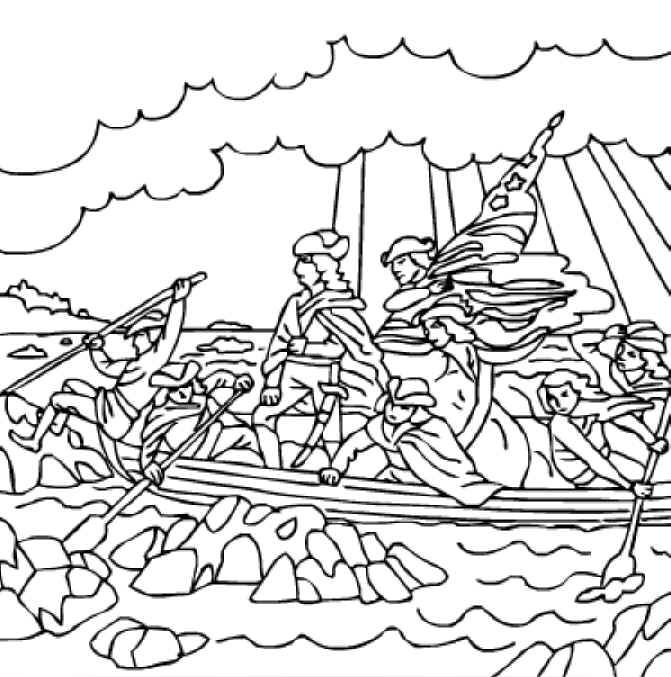 George Washington Crossing the Delaware River. Free printable ...