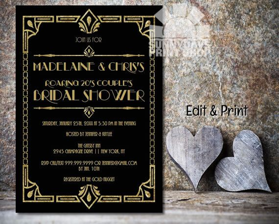 Couples shower great gatsby roaring 20s art deco bridal shower couples roaring 20s bridal shower invitationgastby bridal showerart deco bridal shower instant filmwisefo