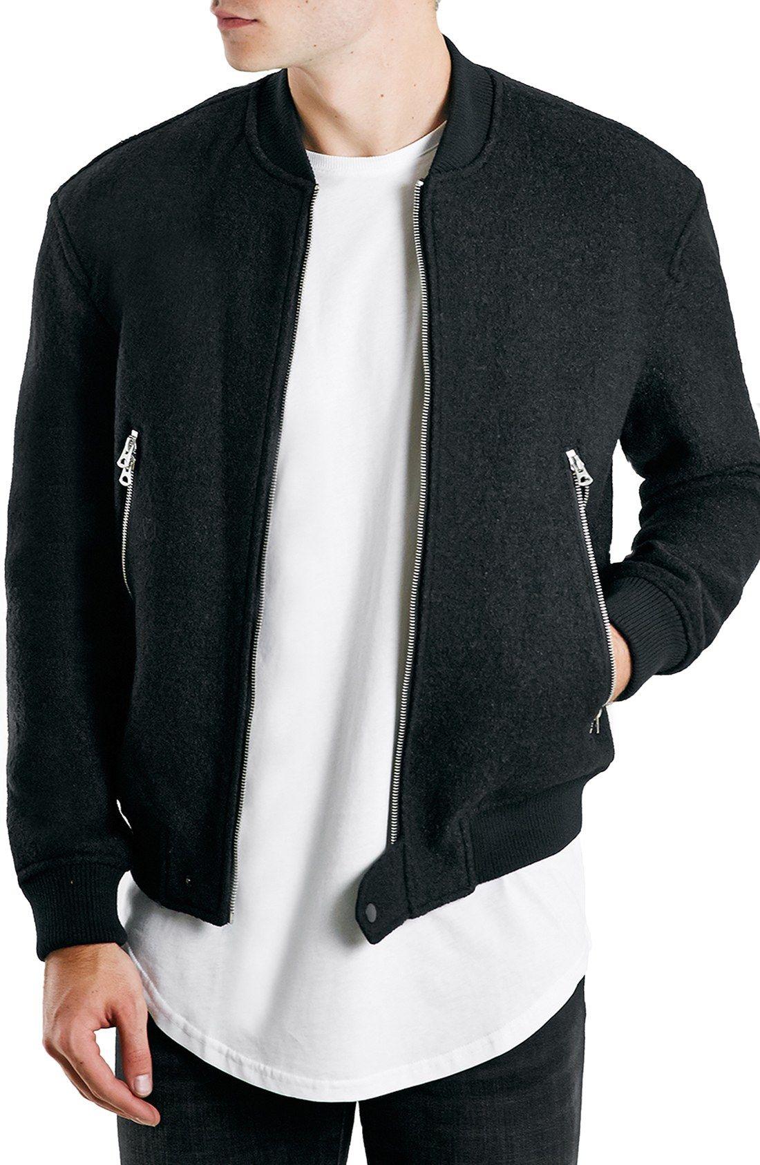 c1f427e42 Topman Boiled Wool Blend Bomber Jacket | quality. | Mens fleece ...
