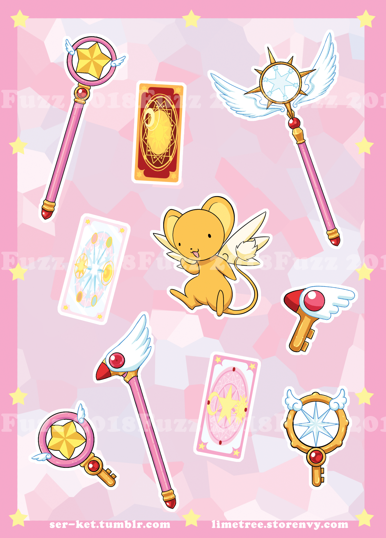 Cardcaptor Sakura Sticker Sheet Cardcaptor Sakura Sakura Tattoo Cardcaptor