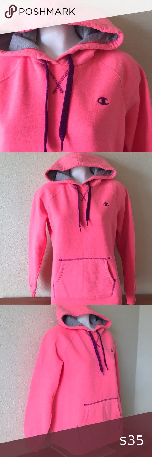 Champion Hoodie Pink Coral flamingo sweatshirt Fun color vintage champion hoodie with pocket in front See pics for measurements Smoke free home � Thank you for shopping � my closet Champion Tops Sweatshirts & Hoodies