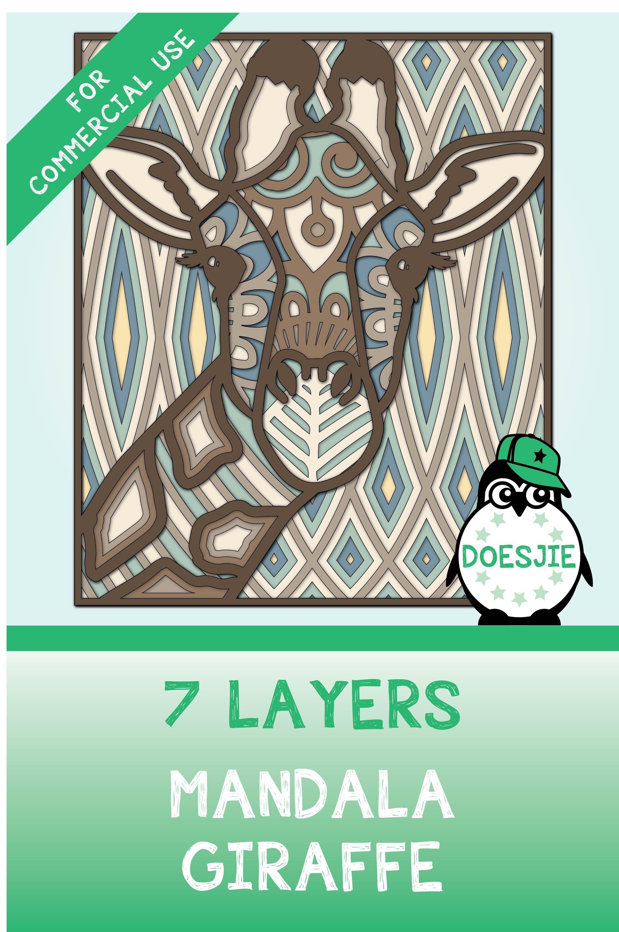 Download Giraffe Multi layer mandala SVG in 2020 | Mandala ...