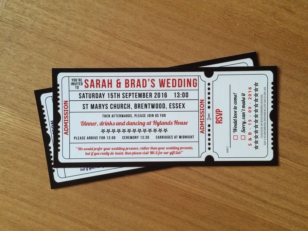 SAMPLE Movie / Cinema / Film Ticket style Wedding Invitation | Fotos ...