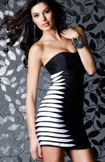 Tight short black and white evening party prom dress