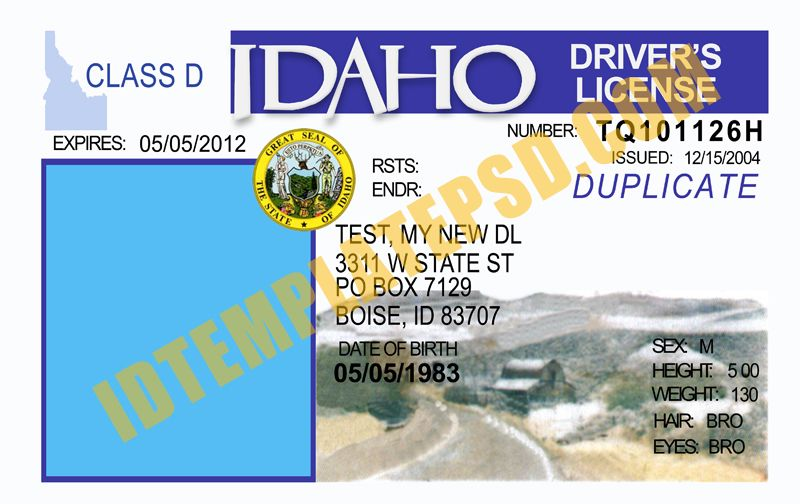 This is Idaho (USA State) Drivers License PSD (Photoshop) Template ...