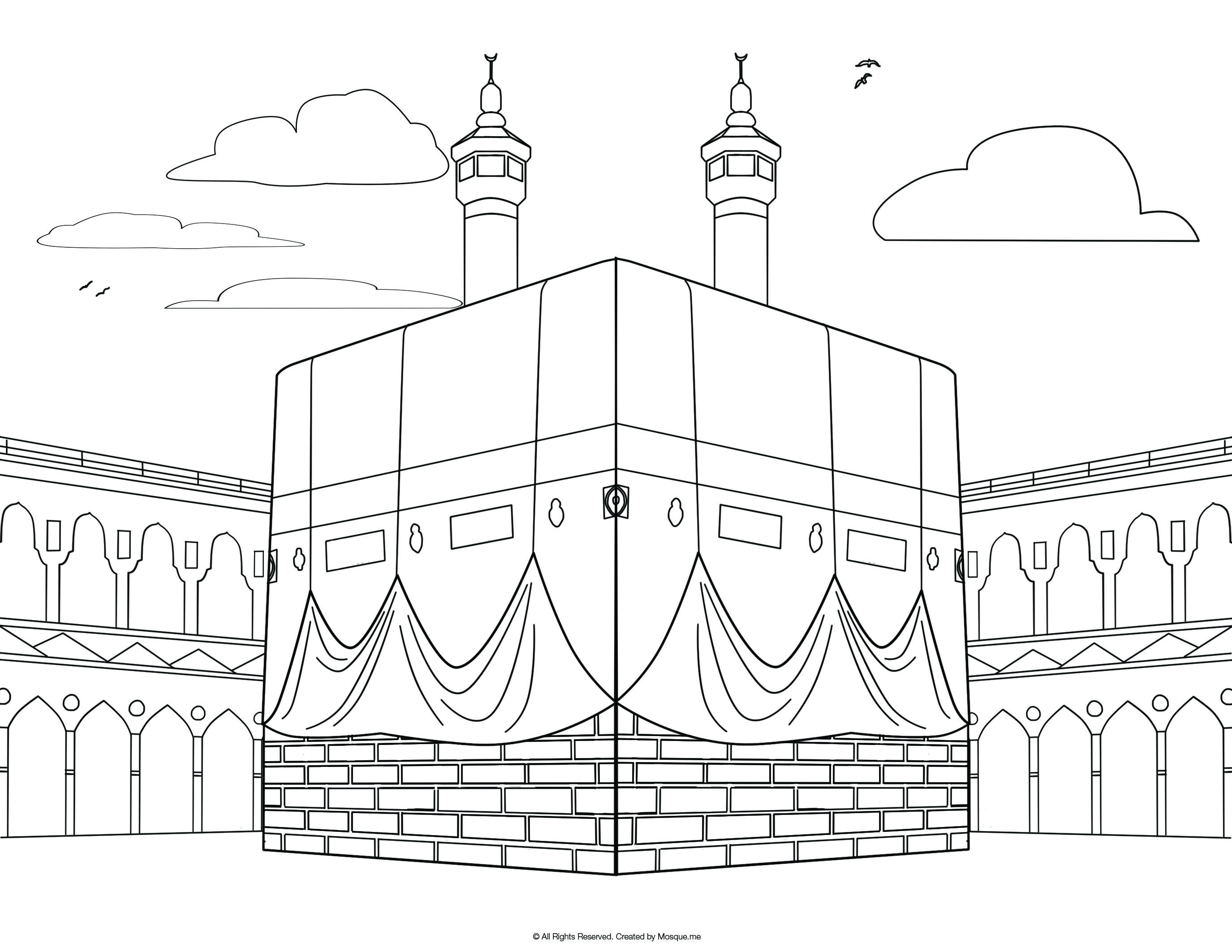 Eid colouring in sheets - Religious Mosque Kabah Coloring Pages
