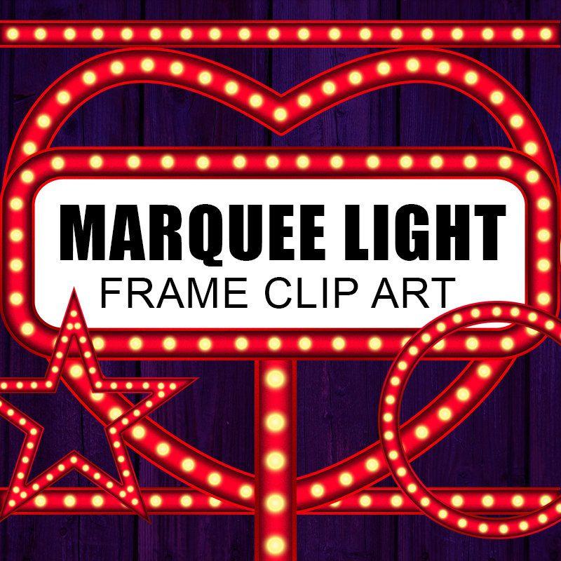 Marquee Light Digital Frame, Clip Art, Vintage Light Sign