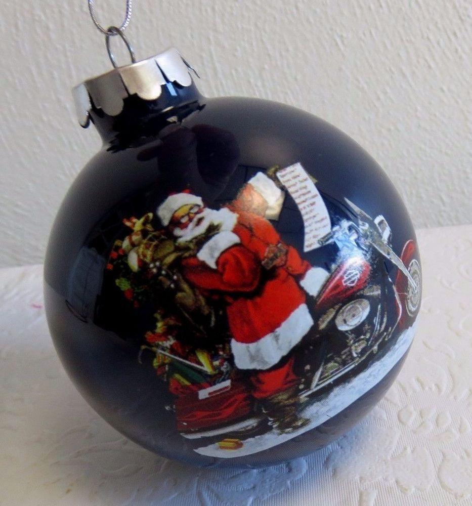 96949 08V   Harley Davidson® 2006 Biker Santa Glass Holiday Ball